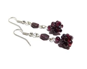 Garnet Stone Earrings, Women, Teen, Gemstone, Red, Ready To Ship,