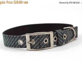 BIG SALE Dog Collar with metal buckle- Blue and Tan Diagonal Stripes