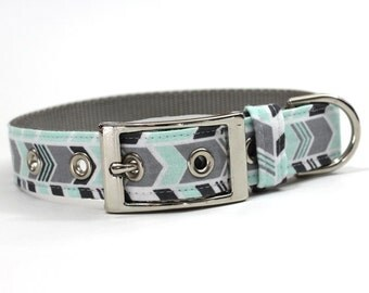 Dog Collar with Metal Buckle- Mint Green and Grey Chevron Stripe