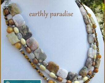 Chunky Multistrand Gemstone Necklace, Big Bead Necklace, Multistrand Beaded, Her Stone Necklace, Statement Necklace, Her Beaded Necklace