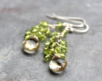 Scapolite Peridot Earrings Lemon Lime Sterling Silver Gemstone Grape Cluster Earrings
