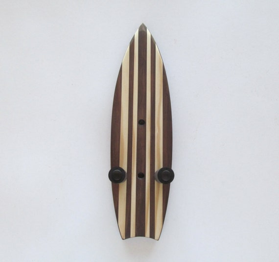 ukulele wall mount hanger mini surfboard dark brown stain. Black Bedroom Furniture Sets. Home Design Ideas