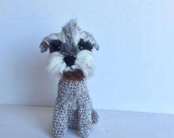 SOLD - Crochet Schnauzer Dog custom made for Ashleigh