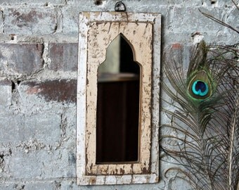 Mirror Reclaimed Vintage Indian Door Panel Wall Hanging Art Very Distressed Cream and White Mirror Moroccan Decor Turkish