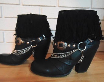 Black Leather Fringed, Concho Leather Strap, Southwestern Boho Gypsy Ankle Booties/Boots   sz. 7B