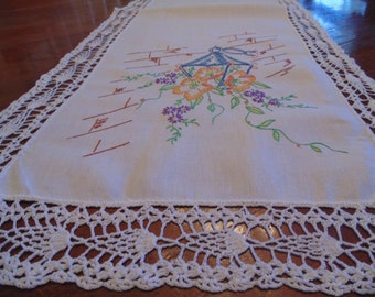 Stunning vintage hand embroidered and hand crocheted runner, lantern and flower sprays