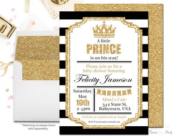 Royal Prince Baby Shower Invitations, Prince Baby Shower Invites, Boys Baby Shower Invitations, Glitter Baby Shower, Printing Service