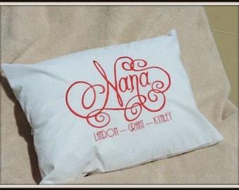 Nana pillow, Gigi Pillow, Mimi pillow customized with grandchildren's namesnames, special grandmother gift. Nana, Mimi or Gigi Gift