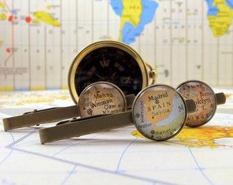 GROOMSMAN GIFT Map Tie Ba, 5-10 Sets, Choose:  Silver or Bronze