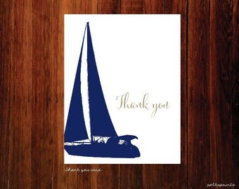 Nautical thank you cards, sailboat thank you - set of 40