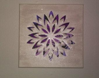 Cutout canvas wall art dahlia pearl and purple