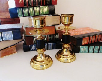 Vintage Black and Brass Candlesticks, Hollywood Regency
