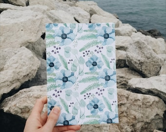 Floral Pattern Notepad with blank pages