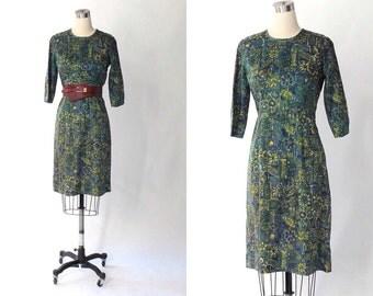 1950s Scarf Print Sheath Dress // 50s Vintage Blue and Green Knee Length Dress // Medium