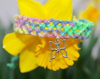 Butterfly hemp bracelet, macrame, micromacrame, hippie, colorful, pastel, music festivals, spring, summer, hemp jewelry