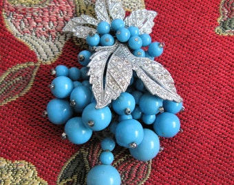 Vintage 1940s Miriam Haskell Frank Hess Pin Turquoise Berry Rhinestone 40s Brooch