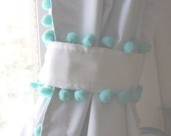 White Pom Pom Blackout Curtains