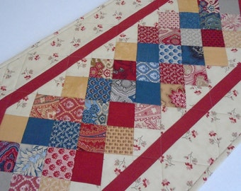 Quilted Table Runner, Quilted Table Topper, Coffee Table Runner, Table Quilt, Patchwork Runner, French General Moda Fabrics