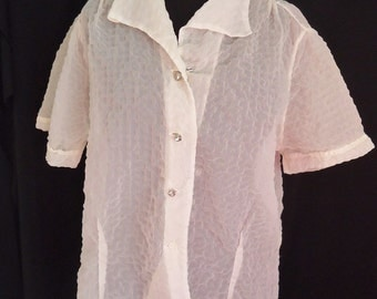 Sheer Ivory Nylon Puckered Vintage 1950's Women's Rockabilly Blouse Shirt M L