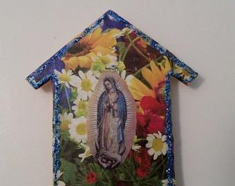 Colorful Virgen de Guadalupe House Shaped Magnet Shrine