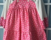Girl's Valentine dress, pink and white hearts, two piece, size 4