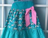 Girl's  Sun Dress Size 3,  Birds, blue and pink