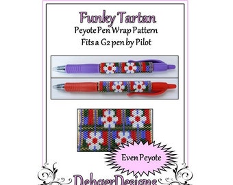 Bead Pattern Peyote(Pen Wrap/Cover)-Funky Tartan