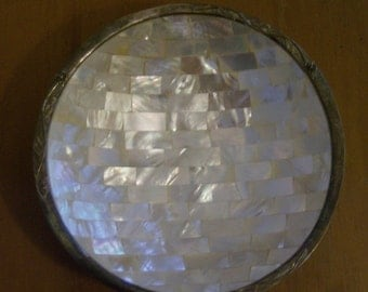 Mosaic Mother of Pearl Bowl With Silver Edge Raised Flowers – Stunning Vintage 8 Inch Bowl