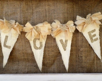 Rustic Wedding Gold Love Banner, Vintage Wedding Banner, Bridal Shower Decor, Nursery Decor