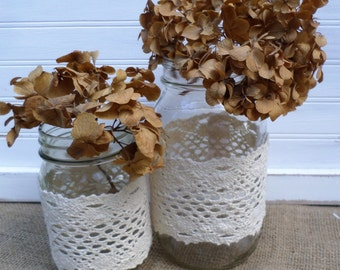 Charming Rustic Wedding Lace Mason Jar Wraps Quart Or Pint Size, Rustic Table Decor,  Rustic