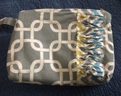 Links Zip Pouch with Chevron Ruffle