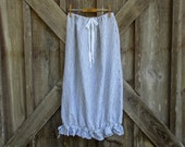 RESERVED FOR S S  linen skirt pouf with ruffle in white