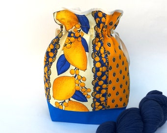 Knitting Crochet Project Bag, Medium or Large Drawstring, WIP, Provencal Summer Lemons Yellow fabric