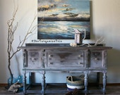 Hand Painted Shades of Grey Antique Buffet in a Rustic Farmhouse Boho Finish