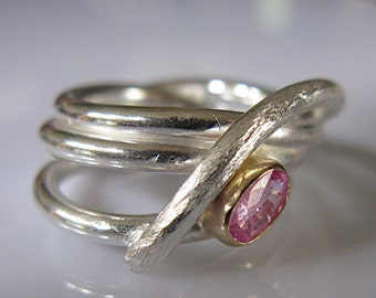 Natural Pink Sapphire Ring Size 8 Unique Engagement Ring Gemstone Ring Statement Ring Fine Silver Ring Pink Gemstone Ring Anniversary Gift