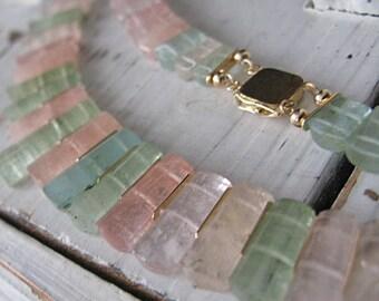 Morganite Statement Necklace Heliodor Necklace Collar Necklace 14K Graduated Beryl Necklace Bib Necklace Unique Precious Gemstone Neckpiece