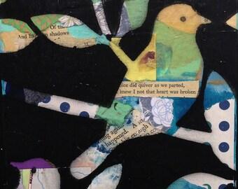 Original Whimsical Blue Polka Dot Bird Collage Art Painting