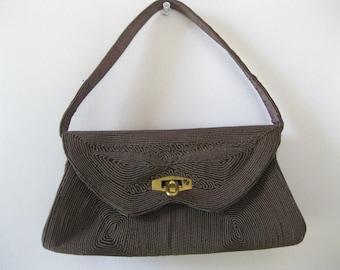 1940s Brown Corde Purse - Box Bag - Vintage Corde Handbag