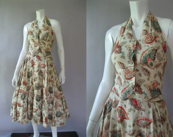 1950s Halter Top and Full Circle Skirt - Vintage Originals by Olga - Rockabilly XS