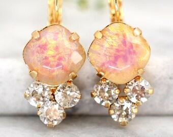 Opal Earrings, Opal Drop Earrings, Bridal Opal Jewelry, Opal Gold Earrings, Gift For Her, Drop Earrings, Swarovski Opal Dangle Earrings