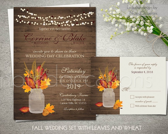 Rustic Fall Wedding Invitations: Rustic Fall Wedding Invitations Printable Set By