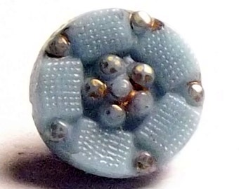 Antique Button Diminutive Victorian Blue glass
