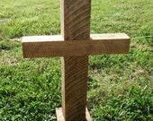Sale Reclaimed wood saw Wooden Rugged Rustic Cross Church Decor Wedding Alter