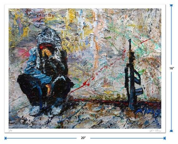 Original signed Print 16 by 20 in. /  original print of modern impressionism art signed military oil gun painting war