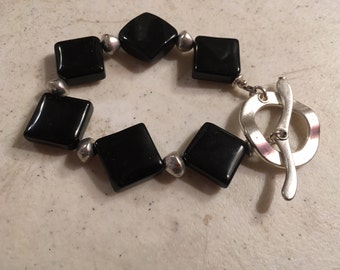 Black Bracelet - Chunky Jewelry - Silver Jewellery - Fashion - Trendy