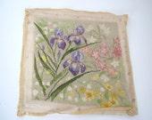 Vintage needlepoint/ handmade stitching/ Iris purple pattern
