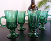 Vintage Libbey Irish Coffee Mugs, Emerald Green Coffee Cups, St. Patrick's Day Stemmed Glass Mugs, Set of Four