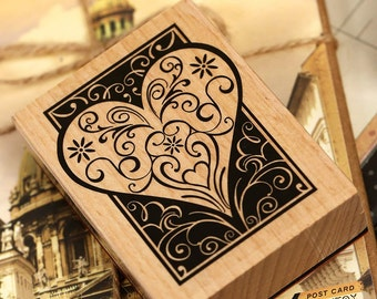 Korea  DIY Wooden Rubber Stamp Loving Heart Diary Stamp