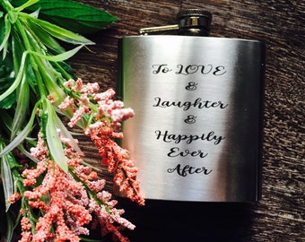 Flask 6 oz Stainless Steel Personalized and Customized Laser Engraved//groomsmen gifts