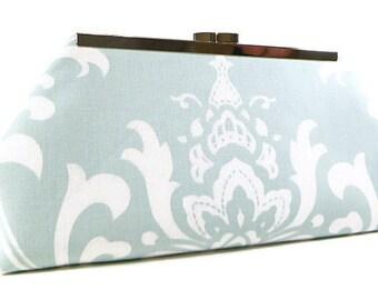 Clutch Bag Purse - Light Pale Blue and White Damask Bridesmaids Clutch